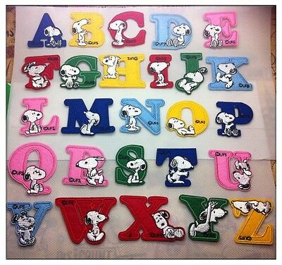 Snoopy Toppa Termoadesiva Lettere Alfabeto Colorate Tessuta Patch Decorativa