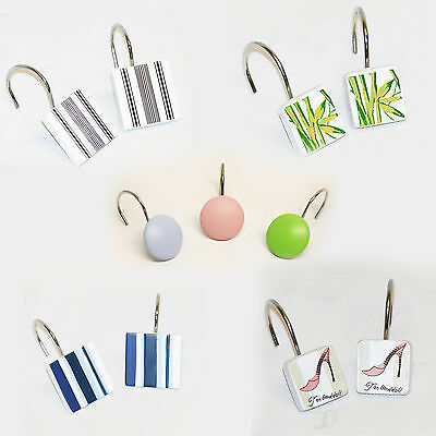 Shower Curtain Hook Rings Set Of 12 Ceramic Clip Multi Coloured Various Designs