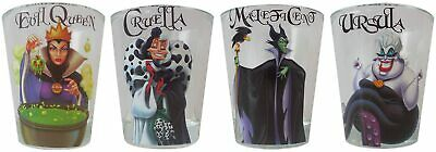 DISNEY FEMALE VILLIANS CLEAR 4 Piece 1.5oz BOXED SHOT GLASS SET