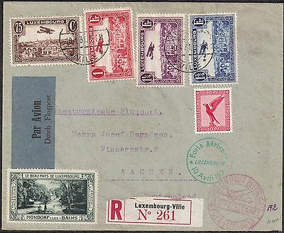 Luxembourg 1931 Air set [4] sg 297-300 used env Luxembourg Ville 10 Apr 1931