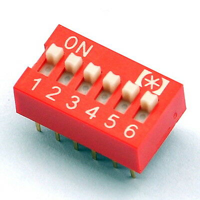 10x  6 Way DIP Switch, 6 Position 12 pin PCB Mountable