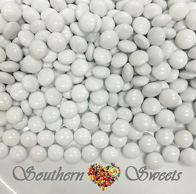 White Choc Buttons 1Kg Crunchy Chocolate Drops Beanies White Lollies