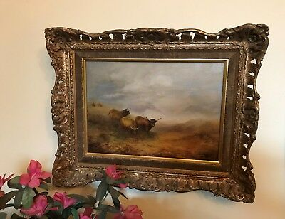 "RARE LISTED VICTORIAN ARTIST GEORGE COLE  ""Highland cattle"" OIL CANVAS PAINTING"