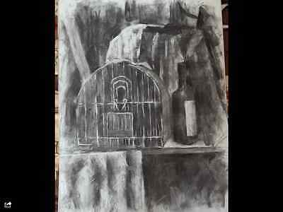 Original large charcoal drawing-Art 65x50cm Bird cage-still life