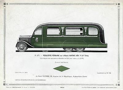 GRAVURE VOITURE = AUTO-CARROSSERIE 671 = ROULOTTE FORAINE châssis MATHIS + EPURE
