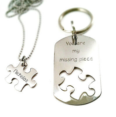 Missing piece - Personalized Necklace and Keychain Set - Puzzle Piece cut out -