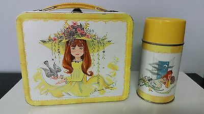 Vintage - 1966 - Yellow Edge Junior Miss Aladdin Metal Lunch Box & Thermos
