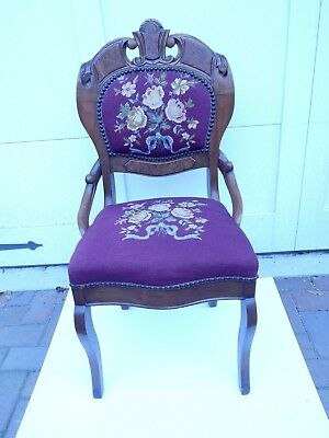 "Antique Wooden Mahogany And Burl Needlepoint Chair 37""h by 17.5""w by 20""d"