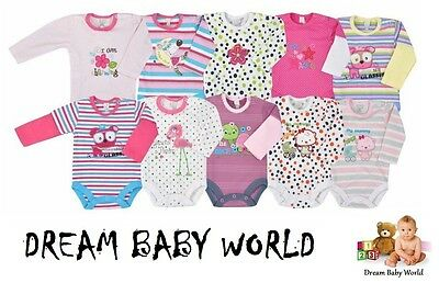 NEW Baby girls Long Sleeve Bodysuits 0 - 24 months HIGHEST QUALITY - BNWT GIRL