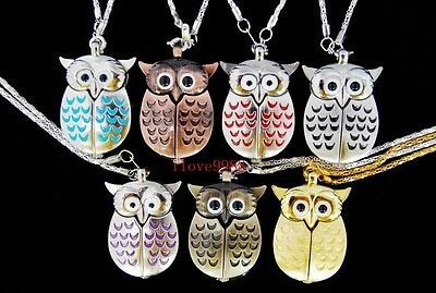 Wholesale 10 pcs Owl Style Necklace Pocket Watches Xmas gifts (7 colours) USF39