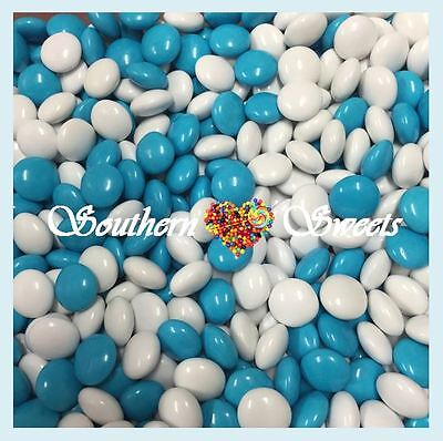 Blue & White Choc Buttons 1Kg Chocolate Drops Beanies Blue Lollies Candy
