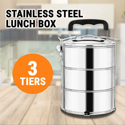 Stainless Steel Lunch Box Food Container 3 Tiers
