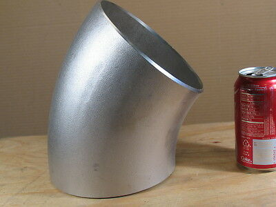 """6"""" 45deg. Elbow Stainless Steel Pipe Fitting (EDA Co) Butt End Type, S10"""