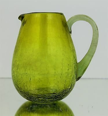 Vintage Mid Century Modern Lime Green Crackled Glass Creamer Pitcher 3.5""