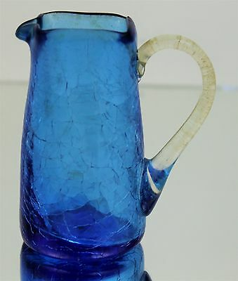 Vintage Mid Century Modern Blue Crackled Glass Square Rim Creamer Pitcher Jug 4""