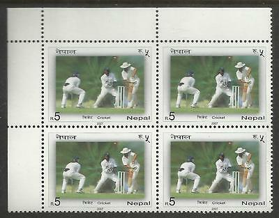 NEPAL 2007 CRICKET Single Value TOP LEFT CORNER BLOCK MNH