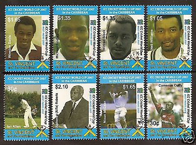 ST VINCENT 2007 CRICKET WORLD CUP Famous Cricketers Set 8 Values FINE USED