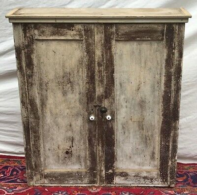 19Th Century Primitive Pine Wall Cabinet In Nice Old Green Paint Finish