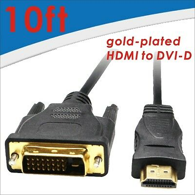 High speed HDMI to DVI-D Monitor Display Adapter Cable Male/Male PC HD HDTV 10FT