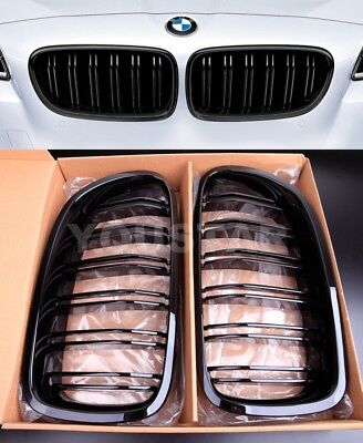 2x M5 Style Twin Slats GLOSS BLACK PERFORMANCE Grills for BMW 5 Series F10 F11