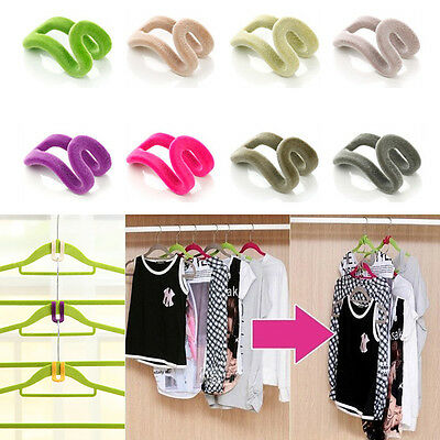 10pcs Home Creative Mini Flocking Clothes Hanger Hook Closet Organizer Wardrobe
