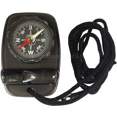 Leisurewize Emergency SOS Map Trail Survival Compass & Whistle Hiking Walking