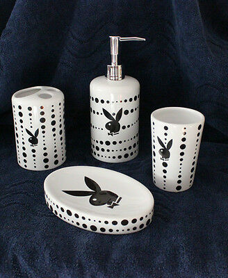 Playboy 4 Pc Bathroom Accessory Set Soap Dispenser Dish Tumbler Toothbrush Hold