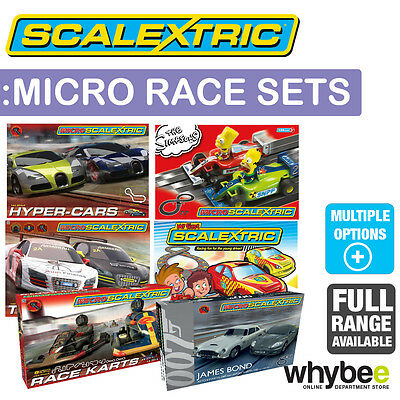 New! Micro Scalextric 1/64 Race Sets Full Range Simpsons - Hyper Cars - Turbo GT