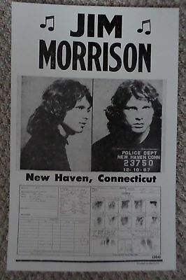 Jim Morrison's Mug Shot and Fingerprint card fron New Haven, CT Poster Print