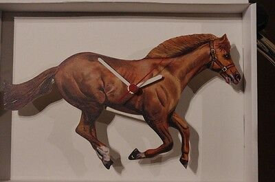 Running Thoroughbred Horse  novelty wooden wall clock British made by Lark Rise