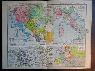 Ethnological Map of Europe Italy 1815 Leipzig War of 1864 German Confederation