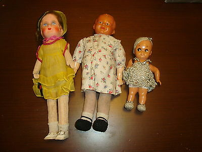 Antique Lot Of 3 Doll Celluloid & Papier Mache Art Deco Juno 19 Germany Etc