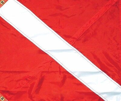 Nylon Diver-Down Boat Flag, Red & White Dive Flag with Folding Stiffner 20x24