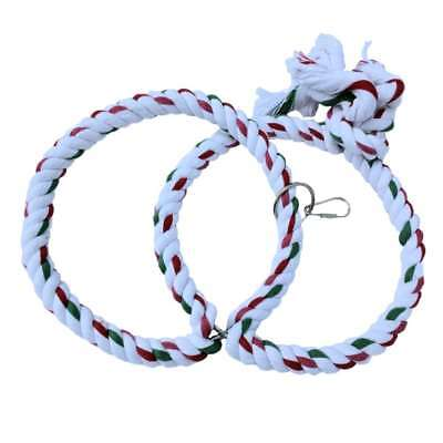 Adventure Bound Double Hoops Cotton Rope Ring Swing Bird Toy for Medium Parrots
