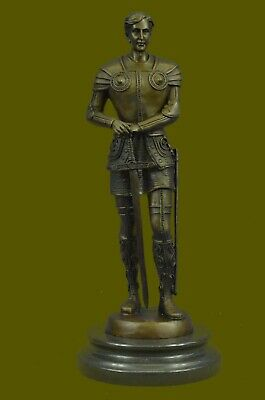 Real Bronze Metal Statue Marble Medieval Middle Ages Knight Sculpture Figurine