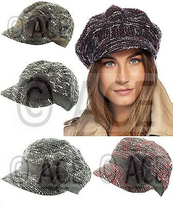 Womens Formal Vintage Newsboy Cap Hat Baker Boy Hats Gatsby Flower Wool Mix