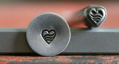 SUPPLY GUY 5mm Heart with Lines Metal Punch Design Stamp SGWM-3, Made in the USA