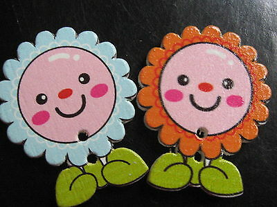 10 Pcs Wooden Button/Buttons FLOWER laughing FLOWERS Mix 2,80 cm / 28 mm