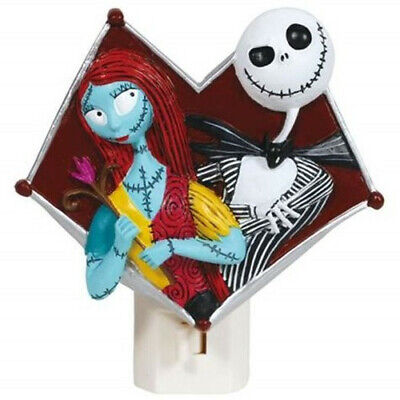 A Nightmare Before Christmas Jack and Sally Resin Figure Nightlight, NEW UNUSED