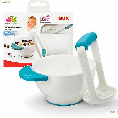 Annabel Karmel Food Masher and Bowl, Instant Baby Food at Home or On The Go!