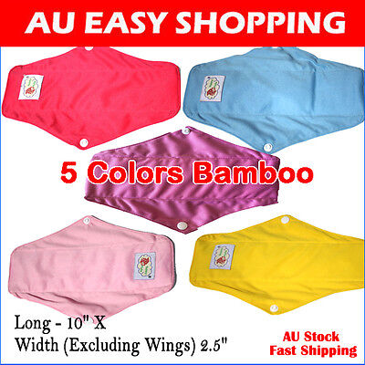 8 Bamboo Mama Cloth Menstrual Pads Reusable Waterproof Sanitary Panty Liners B