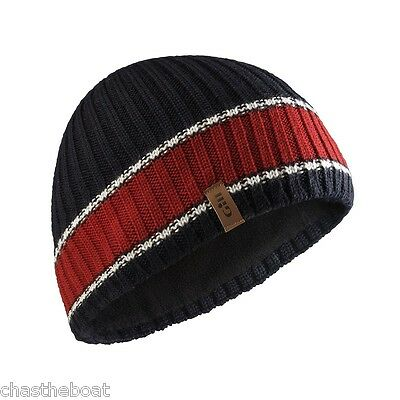 Boat Hat* Navy + red stripe Gill Knitted Beanie Double knit Quality Woolly Hat