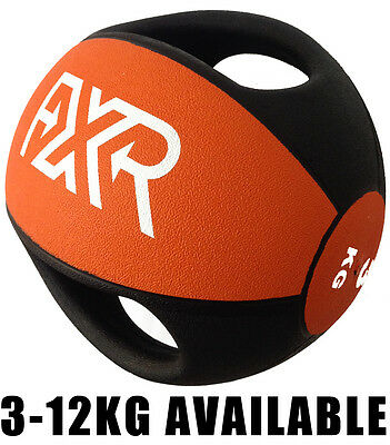 Fxr Sports Rubber Professional Double Handle Medicine Ball 3/4/5/6/7/8/9/10/12Kg