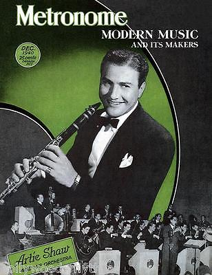 ARTIE SHAW King Of The Clarinet METRONOME Magazine Cover 11x14 Print Dec 1940