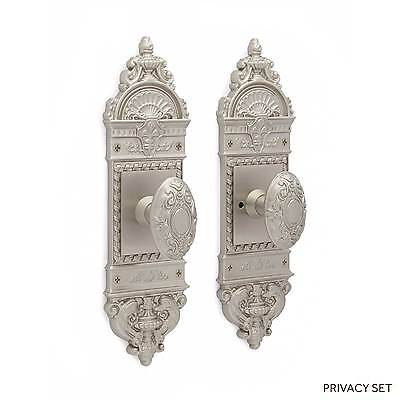 Chloe Small Decorative Door Plate Victorian Oval Knob Set Dummy Privacy Passage