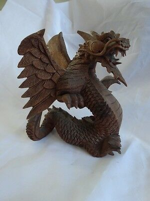 "Vintage HAND CARVED Dragon Statue FIGURE Wood FINELY Detailed 6"" Wings"