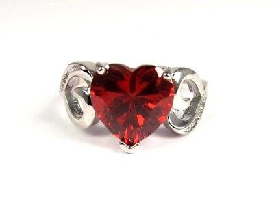 R#6324 simulated Red Garnet Gemstone Heart cut solitaire ladies ring size 8