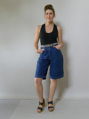 Vintage retro true 90s 10 S unused blue denim long shorts as new NOS