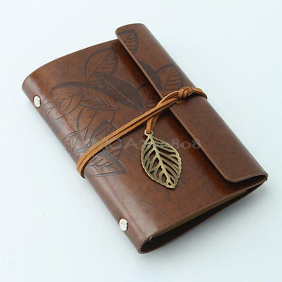 New Retro Classic Vintage Faux Leather Bound Blank Pages Notebook Journal Diary