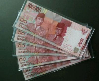 5 x Indonesia 100000 Rupiah Banknotes-UNC Paper Money-Low Price